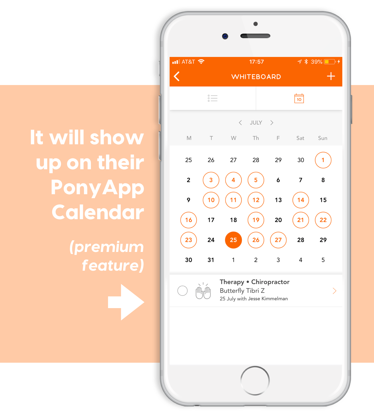 notification takes you to calendar on ponyapp schedule