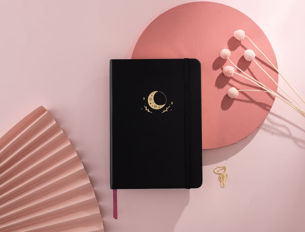 moonflower notebook in red background