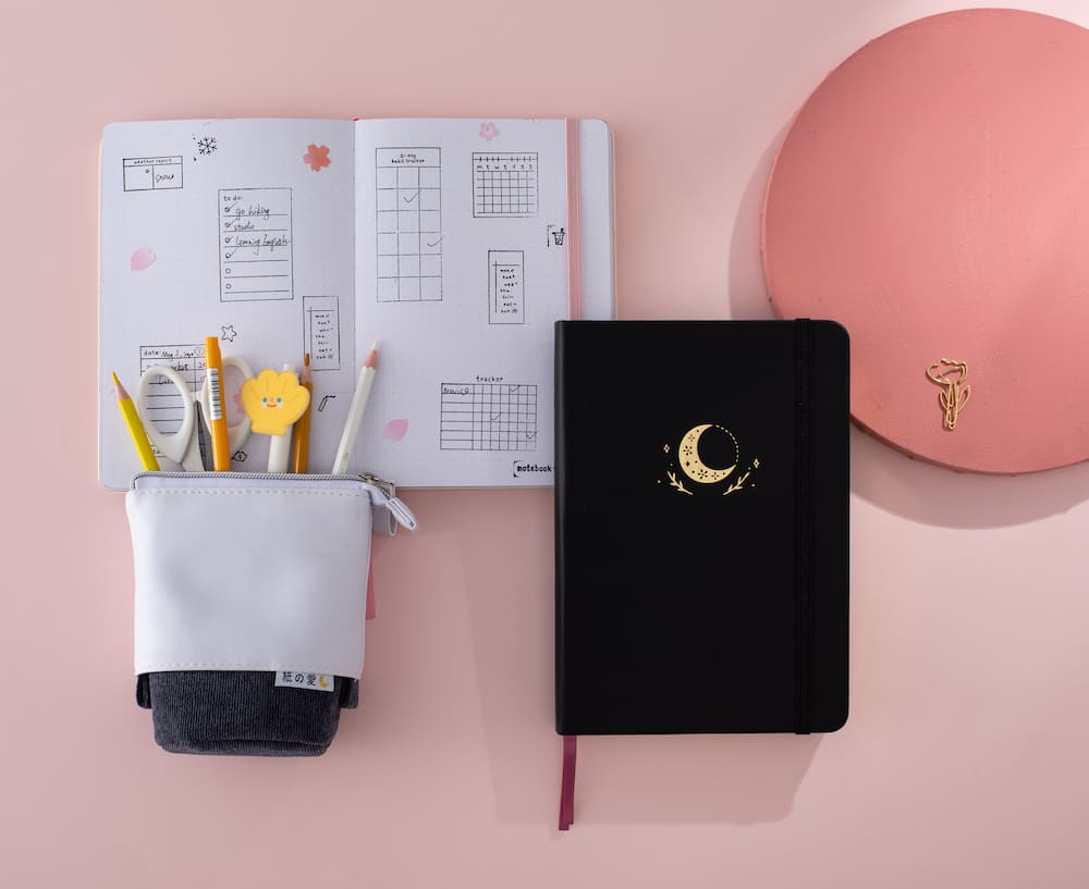 notebook with other stationery