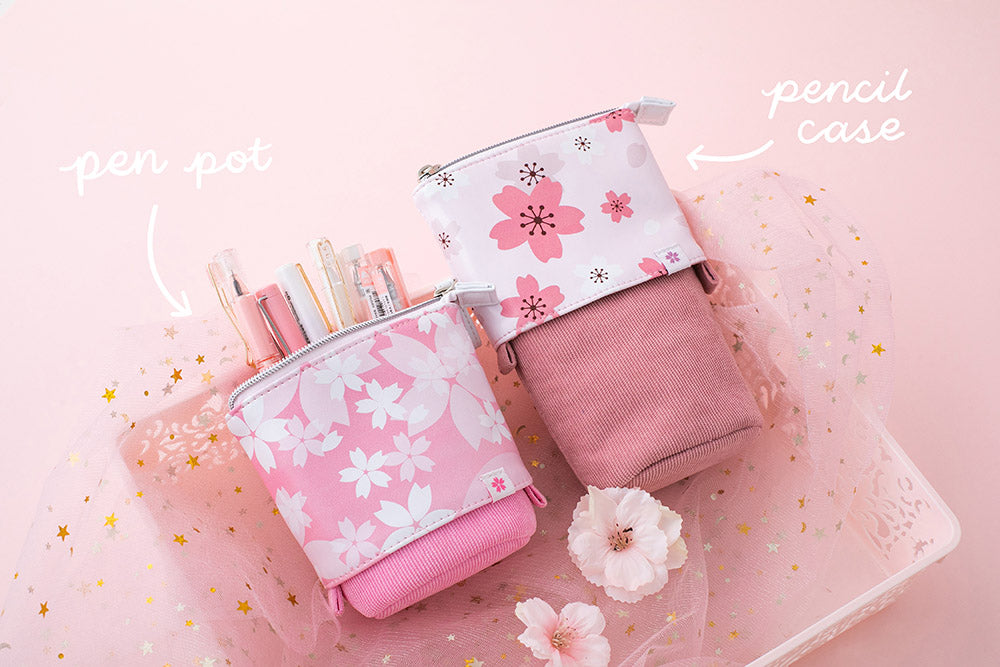 Blush pink and petal pink sakura themed pop-up pencil cases