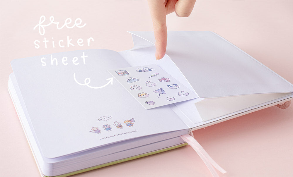 free sticker sheet in the back pocket of spring notebook