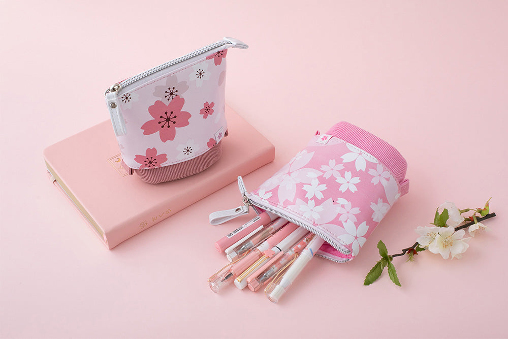 Sakura pop-up pencil cases and petal pink cherry blossom fuji-san themed bullet journal notebook