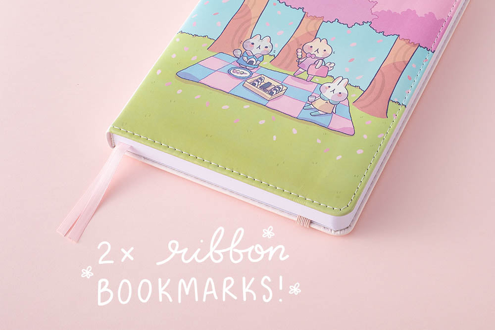 2x ribbon bookmark in spring edition notebook
