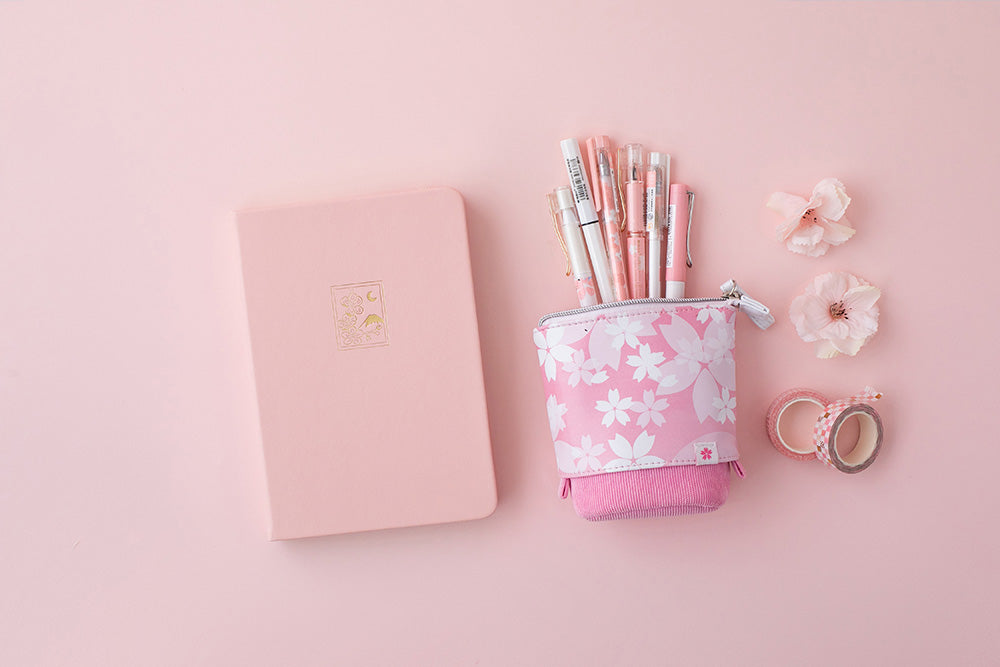 Petal pink sakura themed pop-up pencil case and bullet journal notebook
