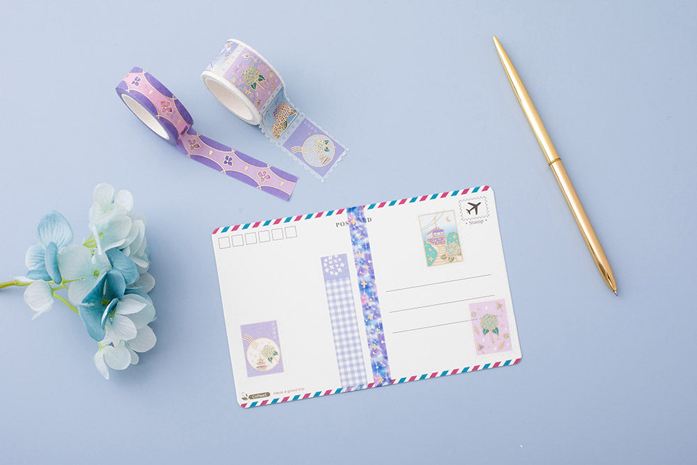 Tsuki Endless Summer Washi Tape Set on postcard with light blue hydrangea flowers and pen on light blue background