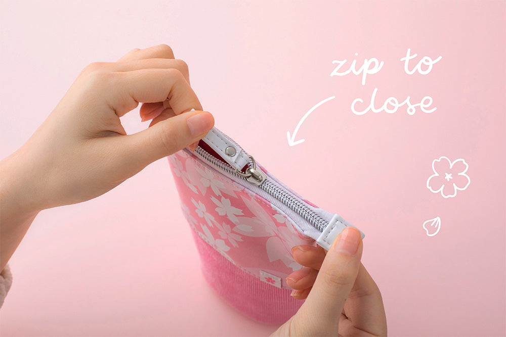 Sakura pop up pencil case zip to close strong zipper