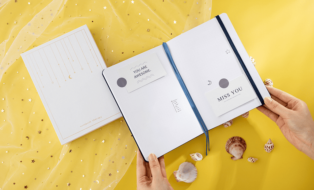 tsuki gentle giant whale notebook open pages