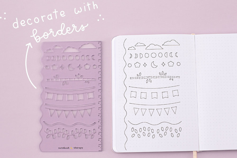 Lilac purple stencil sheet to draw decorative borders on bullet journal spreads