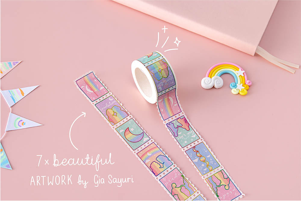 Tsuki Rainbow Pride Washi Tape with seven beautiful artwork stamps by Gia Sayuri with rainbow and bunting on light pink background