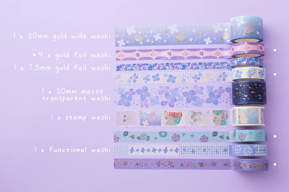 Tsuki Endless Summer washi tape set in multiple sizes and patterns on lilac background