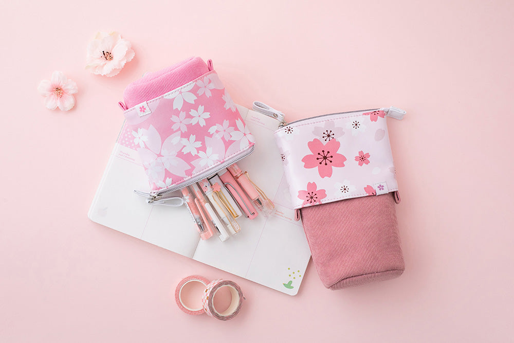 Petal pink sakura edition pop-up pencil case as a pen pot and blush pink cherry blossom themed pop-up pencil case in full size