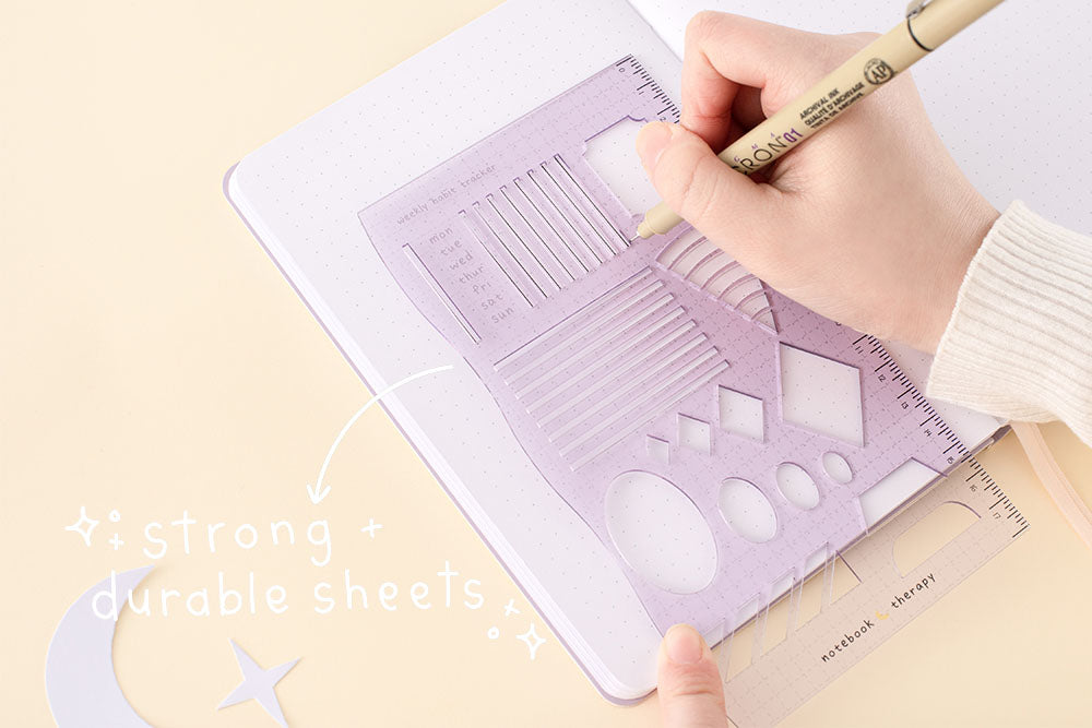 strong and durable stencil sheet in soft yellow backgrounf