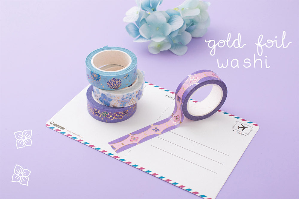 Tsuki Endless Summer gold foil washi tapes on postcard with light blue hydrangea flowers on lilac background