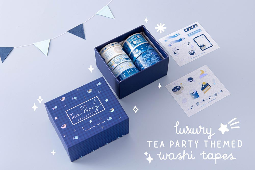 Tsuki 'Cup of Galaxy' luxury tea themed Washi Tape Set with free sticker sheets with bunting on light blue background