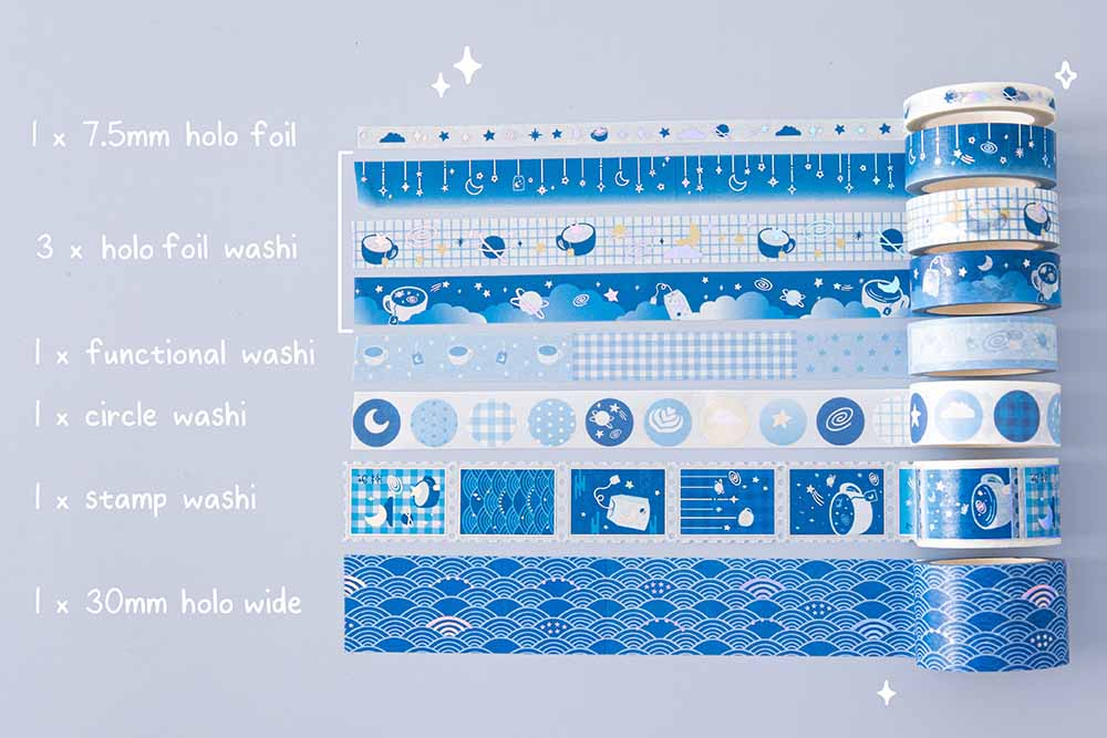Close up of Tsuki 'Cup of Galaxy' Washi stamp tape held in hands in light blue background