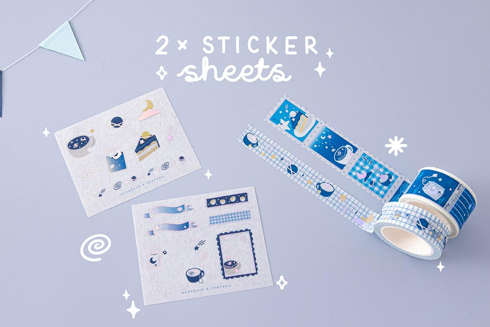 Tsuki 'Cup of Galaxy' Washi Tapes with two free sticker sheets with bunting on light blue background