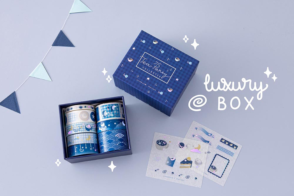 Tsuki 'Cup of Galaxy' Washi Tapes with two free sticker sheets and luxury eco-friendly gift box with bunting on light blue background