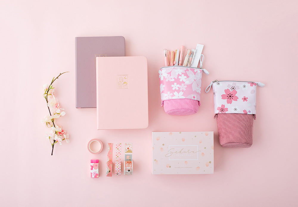 Sakura collection aesthetic stationery set of bullet journal notebooks, washi tapes and pop-up pencil cases