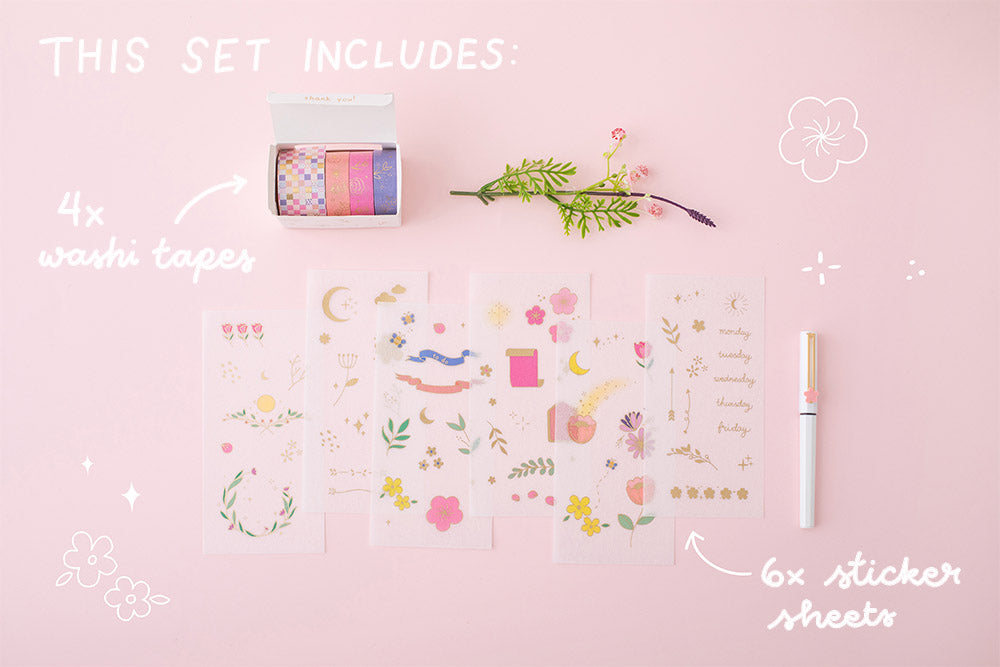 what is included in the Tsuki Floral collection washi tapes and sticker sheets on pink background