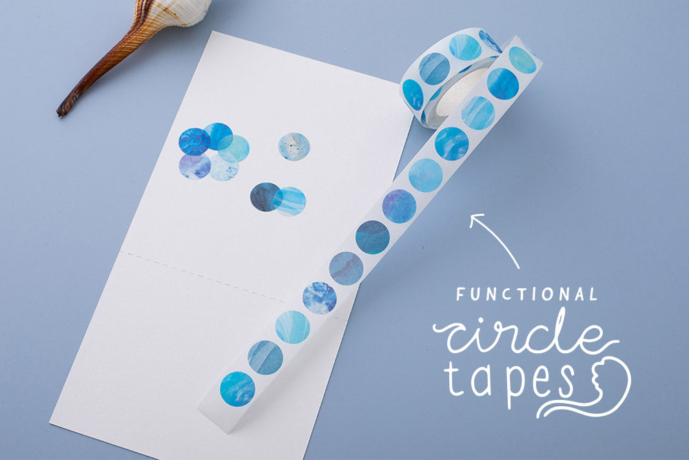Tsuki Ocean Edition functional circle washi tapes with seashell on blue background