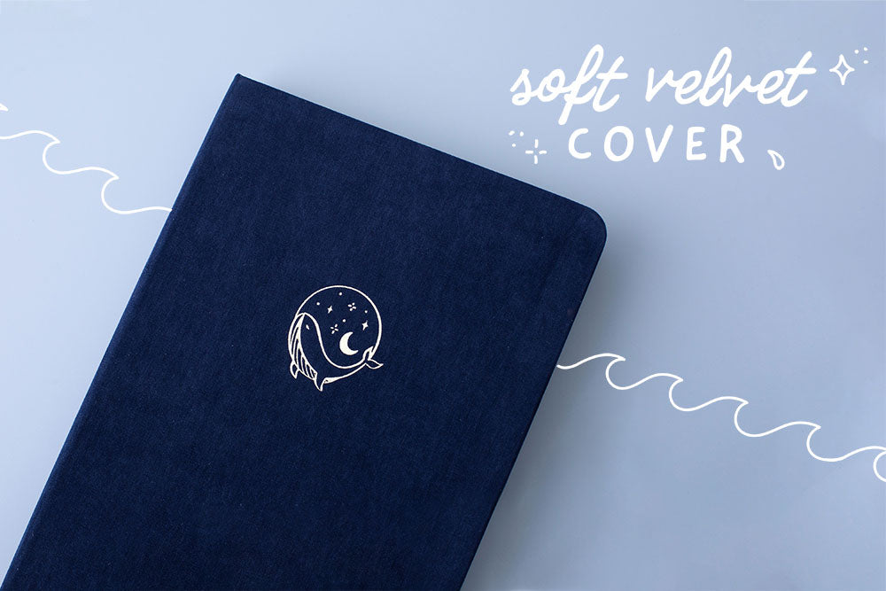 Tsuki deep blue Gentle Giant luxury edition notebook with soft velvet cover on blue background