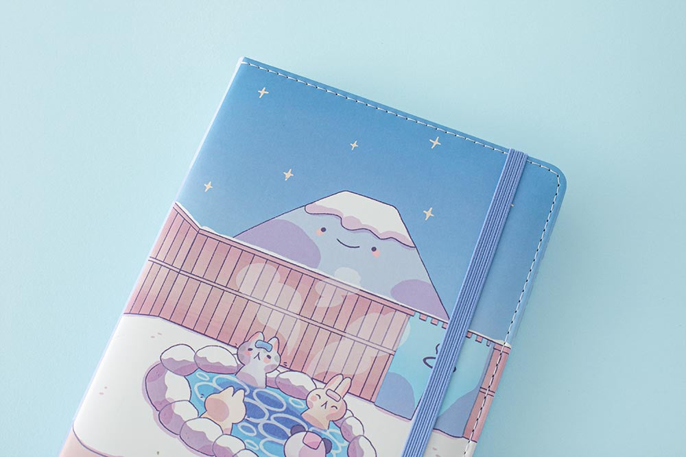 Bullet Journal Cute Winter in Onsen with Fuji-San cover design by @milkkoyo