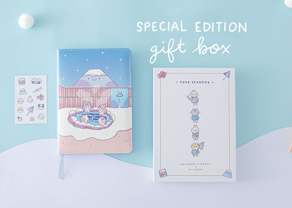 Japanese Stationery Flattlay with reusable cute aesthetic gift box, stickers and bullet journal