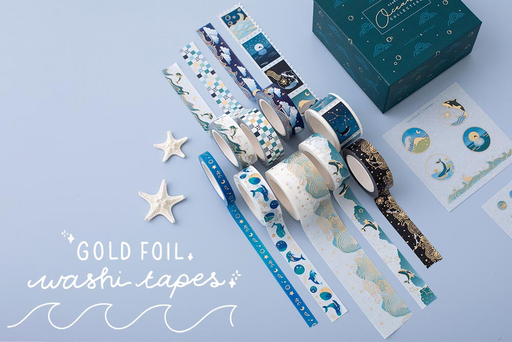 Tsuki Ocean Edition gold foil Washi Tapes and sticker sheet set with reusable eco-friendly gift box and starfish on blue background