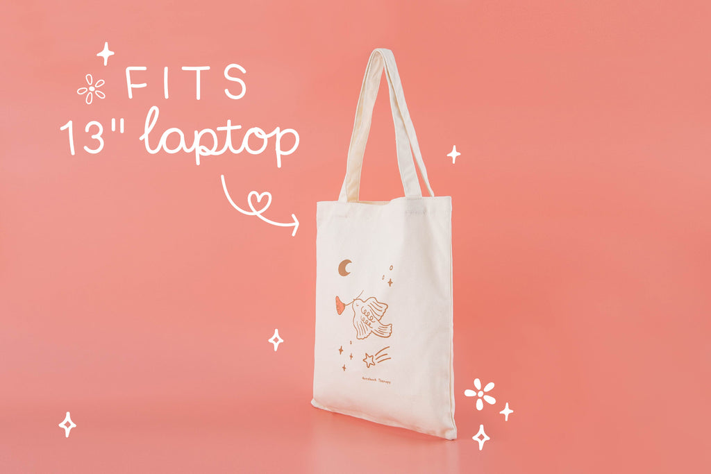Tsuki Suzume 'Moonflower' canvas tote bag by Notebook Therapy