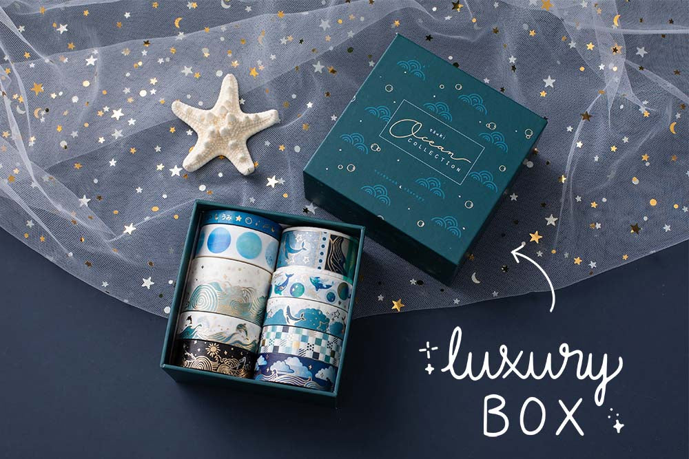 Tsuki Ocean Edition Washi Tapes and sticker sheet set with luxury reusable eco-friendly gift box and starfish on dark blue background