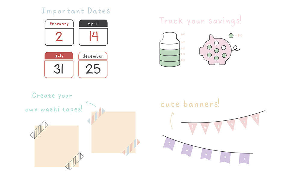 Important dates, saving tracker, create your own washi tape, cute banner, using tsuki stencils infographic