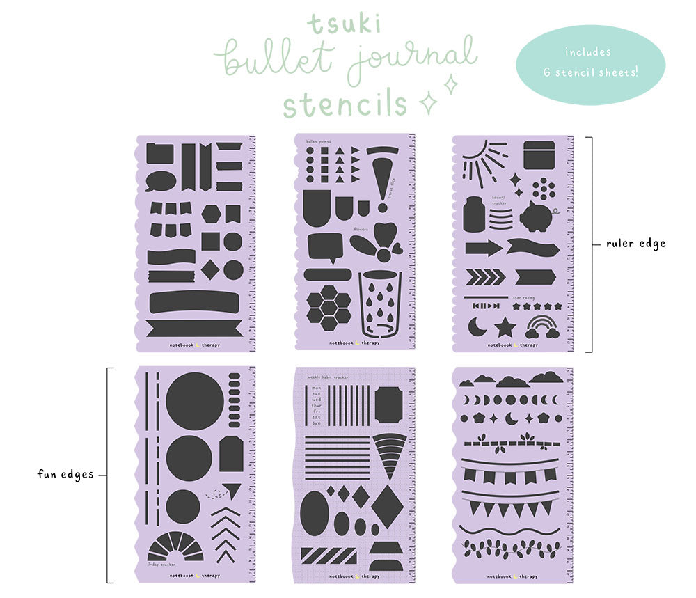Six lilac purple bullet journal stencil sheets with functional and decorative shapes