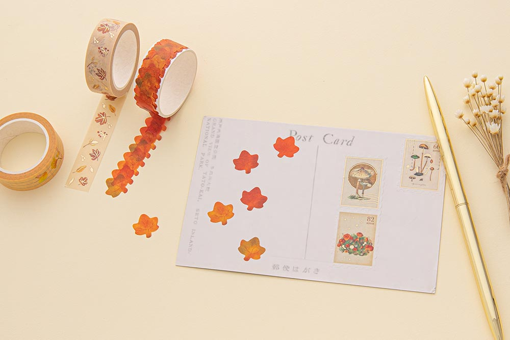 Tsuki 'Maple Dreams' Washi Tapes on postcard with gold pen and dried flowers on cream background