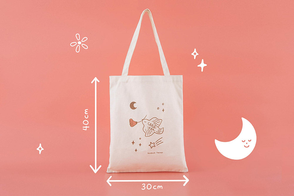 Tsuki 'Moonflower' Limited Edition Tote Bag in 30 x 40 cm size in coral pink background