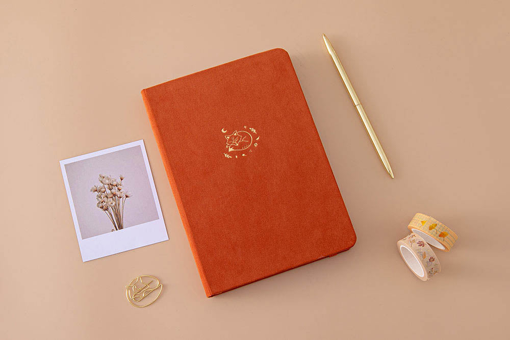 Tsuki 'Kitsune' Limited Edition Fox Bullet Journal with free paperclip gift with Tsuki 'Maple Dreams' Washi Tapes and gold pen and dried flowers on beige background