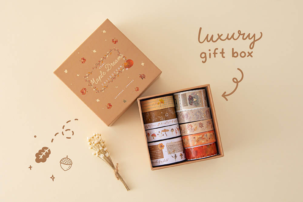 Tsuki 'Maple Dreams' Washi Tape Set with luxury eco-friendly gift box packaging with dried flowers on cream background