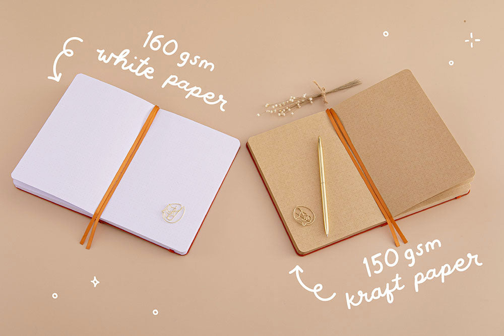 Tsuki Kraft Paper Limited Edition Bullet Journal in Kitsune with 150GSM kraft paper and Tsuki 'Kitsune' Limited Edition Fox Bullet Journal with 160GSM white paper with dried flowers on beige background