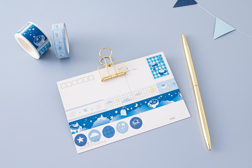 Tsuki 'Cup of Galaxy' Washi Tapes on postcard with gold clip with bunting and gold pen on light blue background
