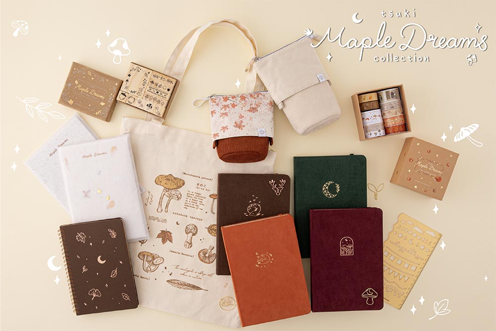 Tsuki Maple Dreams Collection including Tsuki 'Kitsune' Limited Edition Fox Bullet Journal and  Tsuki 'Nara' Limited Edition Bullet Journal and Tsuki 'Kinoko' Limited Edition Bullet Journal and Tsuki 'Midnight Garden' Limited Edition Bullet Journal with Tsuki 'Maple Dreams' Washi Tapes Set and Tsuki 'Maple Dreams' Bullet Journal Stamp Set and Tsuki 'Vintage Kinoko' Tote Bag and Tsuki Bullet Journal Stencil Set in Neutral and Tsuki 'Maple Dreams' Kraft Paper Limited Edition Bullet Journals and Tsuki 'Maple Dreams' Ringbound Bullet Journal and Tsuki 'Maple Dreams' Pop Up Pencil Cases in maple and stone and Tsuki Mixed Scrapbook Paper Pack and Tsuki Handmade Petal Paper Pack on cream background