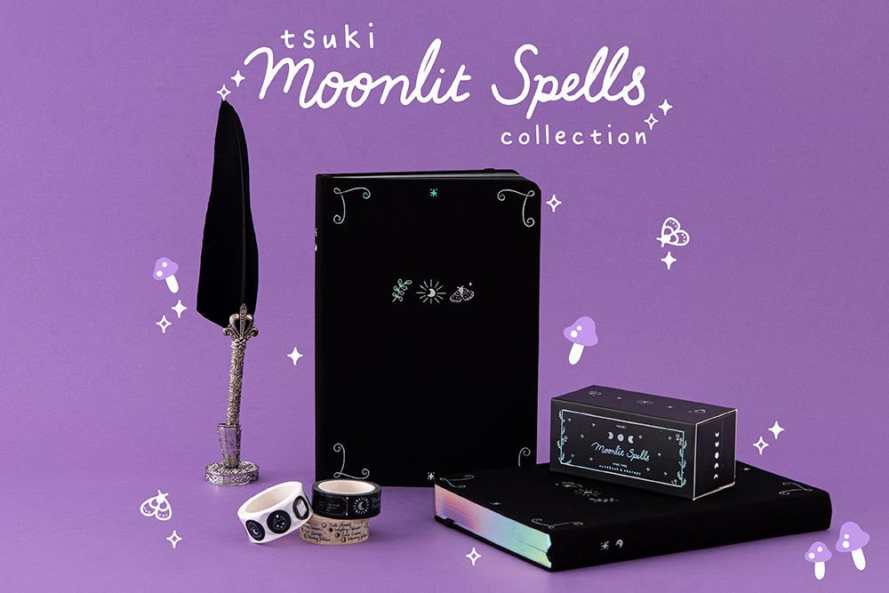 Tsuki 'Moonlit Spell' Collection with black feather quill in purple background