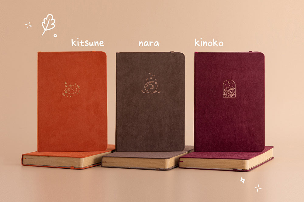 Tsuki Kraft Paper Limited Edition Bullet Journal in Kitsune and Nara and Kinoko in beige background