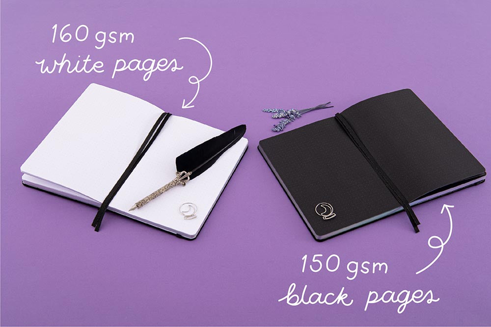 Tsuki 'Moonlit Spell' Limited Edition Holographic Bullet Journal with 160GSM white pages or 150GSM black paper with black feather quill and lavender sprigs on purple background