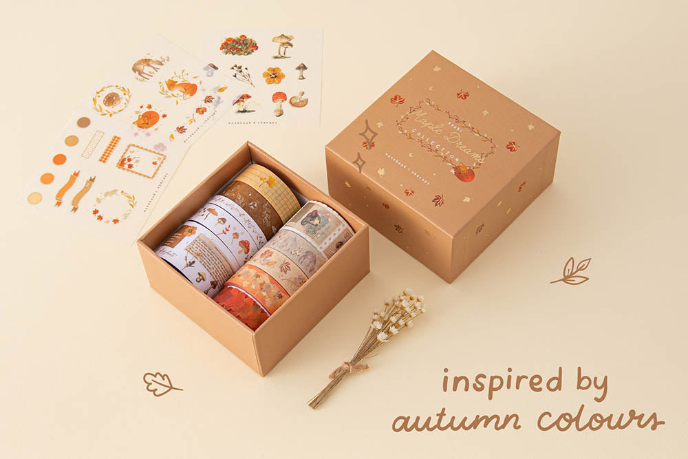 Tsuki 'Maple Dreams' Washi Tape Set with free stickers sheet and eco-friendly gift box packaging inspired by autumn colours with dried flowers on cream background