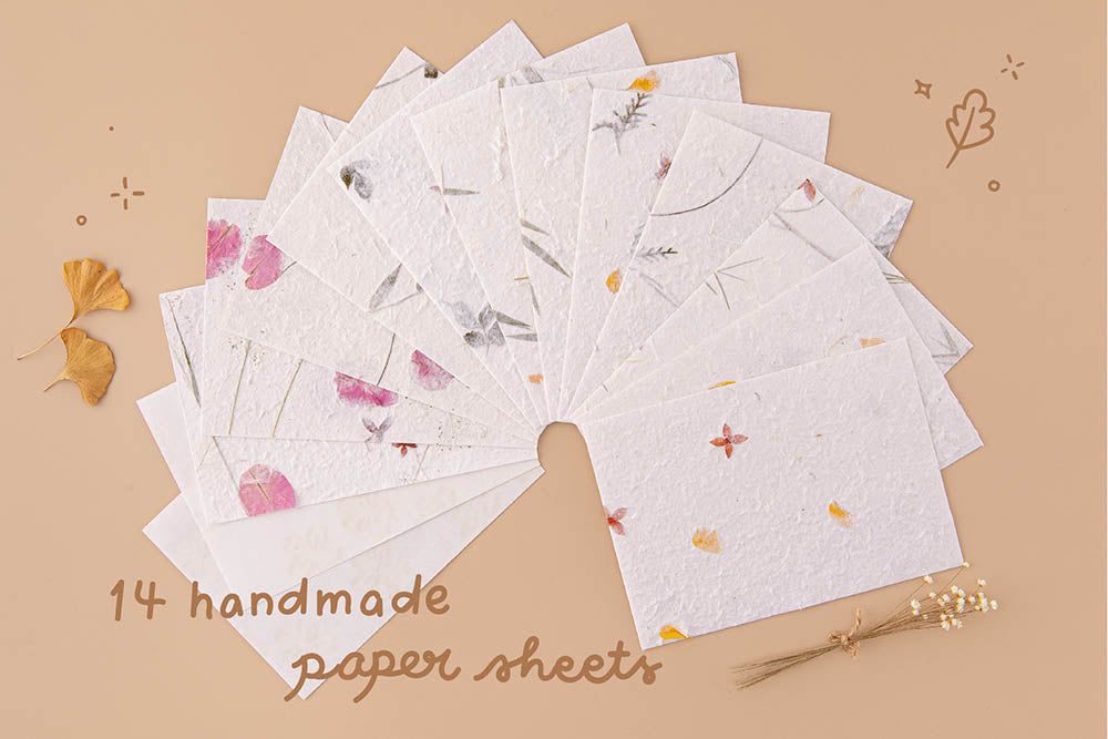 Pack of fourteen Tsuki Handmade Petal Papers fanned out with dried flowers and autumn leaves on beige background