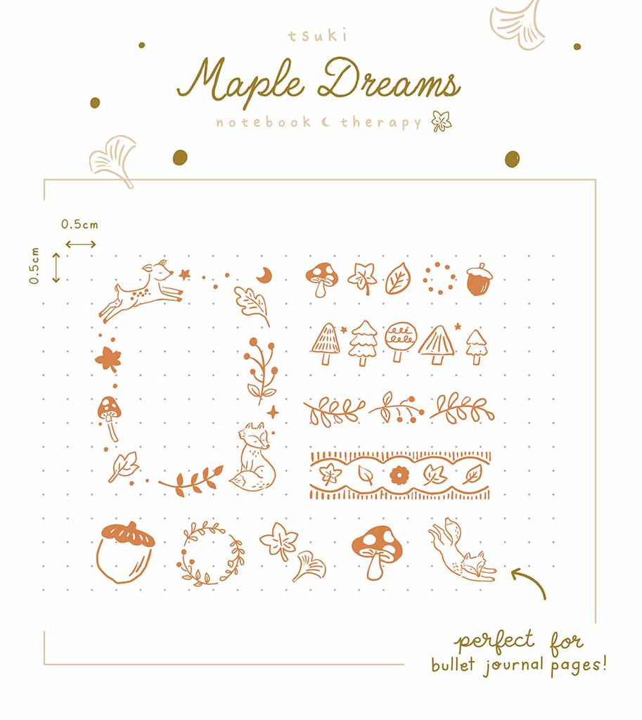Tsuki 'Maple Dreams' Bullet Journal Stamps demonstrated on bullet journal page mockup on white background