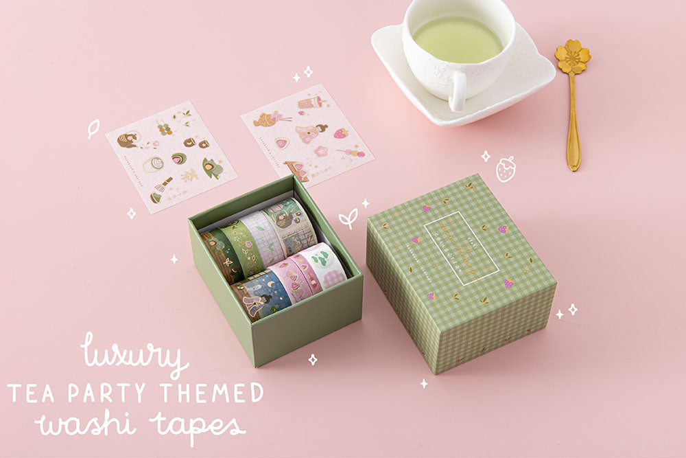 Tsuki 'Matcha Ichigo' luxury tea party themed washi tapes set with free sticker sheets with tea cup and saucer and spoon on light pink background