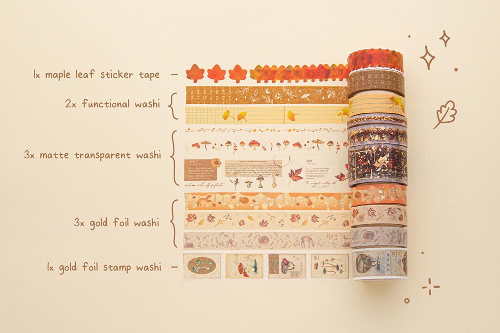 Tsuki 'Maple Dreams' Washi Tape Set in various sizes rolled out on cream background