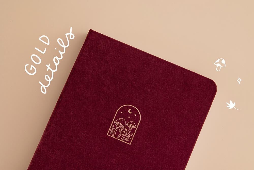 Tsuki 'Kinoko' Limited Edition Bullet Journal with gold details on beige background