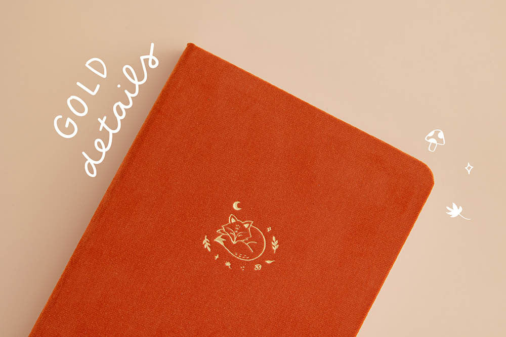 Tsuki 'Kitsune' Limited Edition Fox Bullet Journal with gold details on beige background