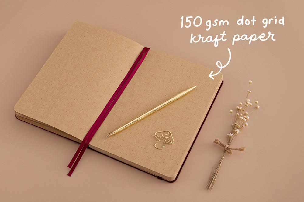 Tsuki Kraft Paper Limited Edition Bullet Journal in Kinoko with 150GSM dot grid kraft paper with free bookmark gift with gold pen and dried flowers on beige background